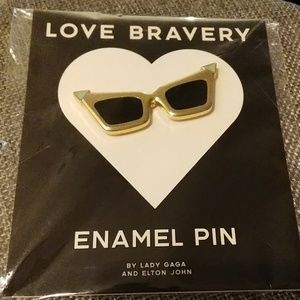 Retro Sunglasses LOVE Bravery Lady Gaga Enamel Pin
